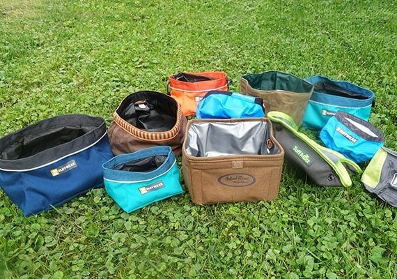 Canvas collapsible dog bowls ready to be tested and reviewed