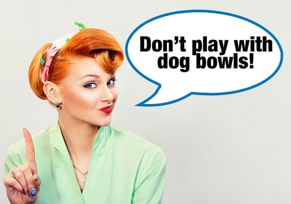 Mom warning baby not to play with dog bowls