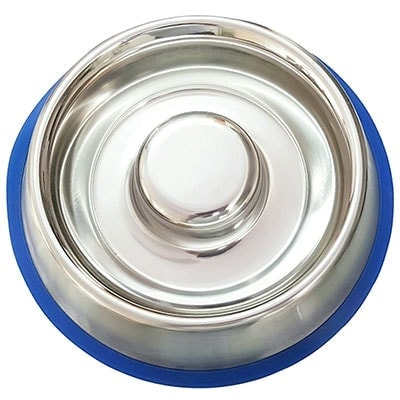 Mr. Peanut's Stainless Steel slow-feed dog bowl