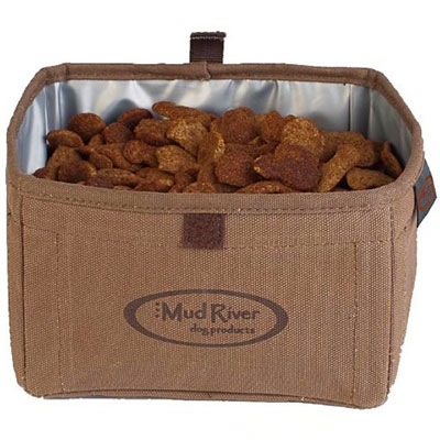 Mud River Oasis Portable collapsible canvas dog food bowl
