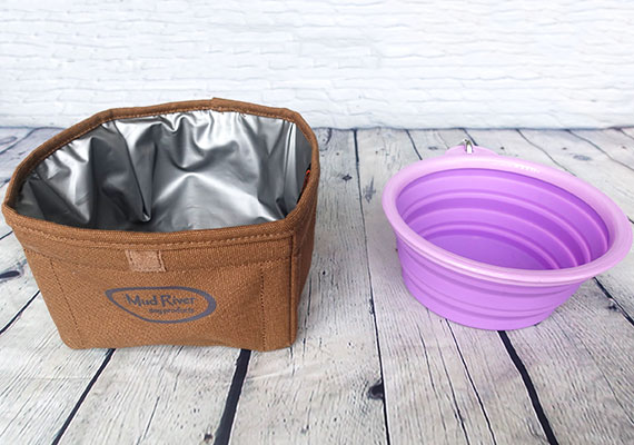 Silicone Collapsible Dog Bowl Vs Canvas fabric dog bowl side by side