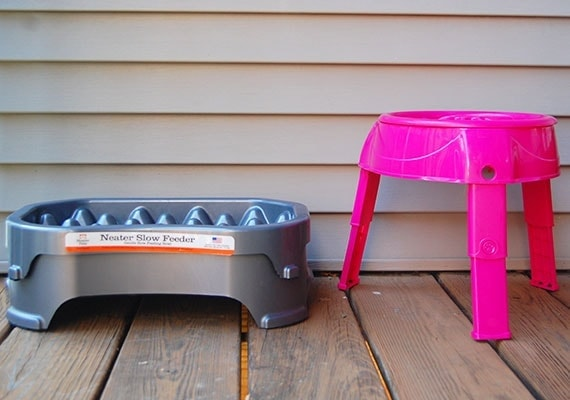 Two elevated slow feed dog bowls comapred side by side