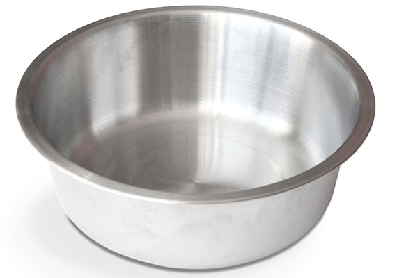 Brushed stainless steel dog bowl