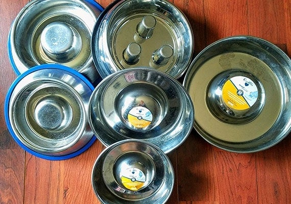 Some of the stainless steel slow-feed dog bowls that we tested and reviewed