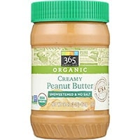 365 Everyday Value Organic Creamy Peanut Butter without salt or sugar - The most recommended peanut butter for dogs