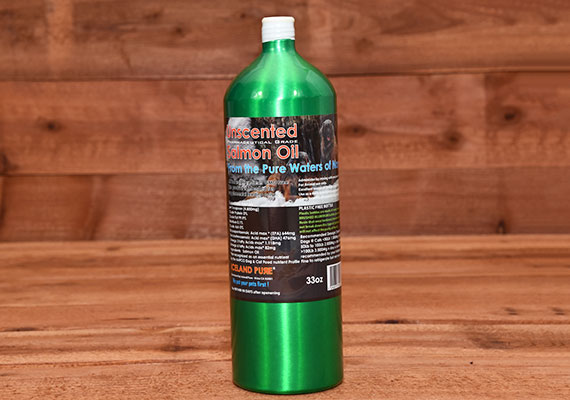 Bottle of iceland pure winner of unscented salmon oil for dogs