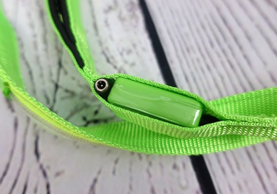Close up on charger and battery pack of Illumiseen Rechargable LED dog leash