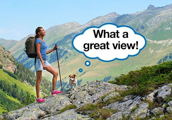Dog and woman admiring view after reaching the top of a mountain hike