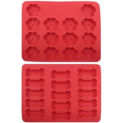 Dog paw print and bone shaped red silicone ice tray