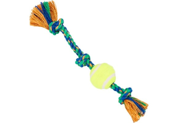 Dog rope toy with tennis ball attached for games of fetch