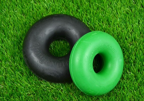 Goughnuts Standard range of rubber chew rings in black and green color