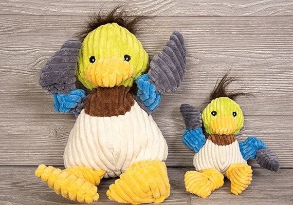HuggleHounds plush corduroy durable knotties duck plush toy big and small compared side by side