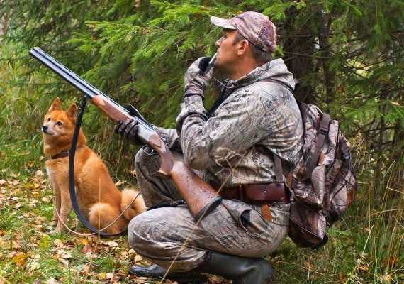 Hunter blowing dog whistle next to dog in forest