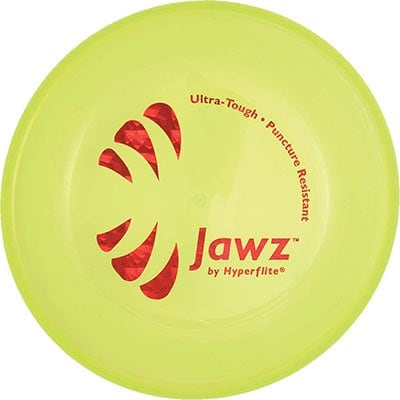 Hyperflite Jawz puncture resistant disc winner of the best hard plastic dog frisbee category