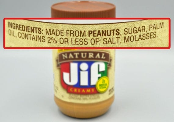 Ingredients in Natural Jif Creamy Peanut Butter that are unsafe for dogs