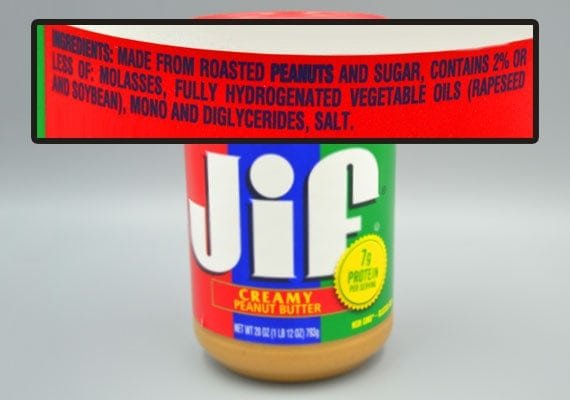 Jif Peanut Butter Ingredients that are unhealthy for dogs