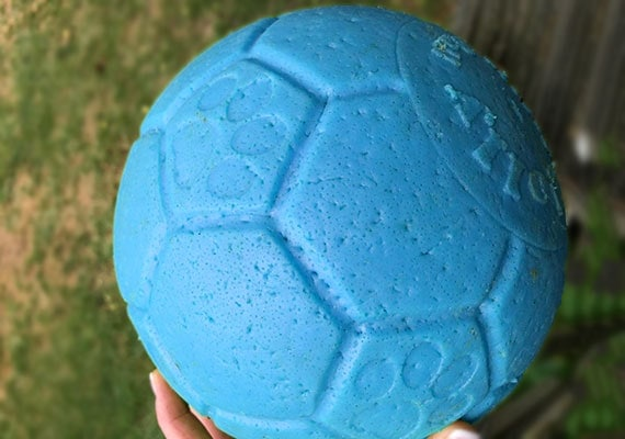 Jolly Jumper Soccer Ball showing teeth marks from German Shepherd carrying it in mouth