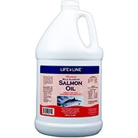 Large bottle of Life Line Premium Wild Alaskan Salmon Oil 128 oz for dogs