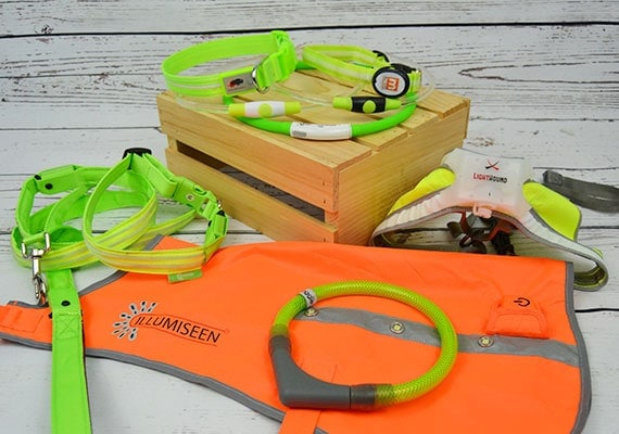 LED Dog Collars, Vests and Leashes ready to be tested and reviewed