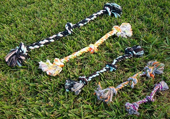 Mammoth cottonblend 3 knot rope toys in 5 different sizes
