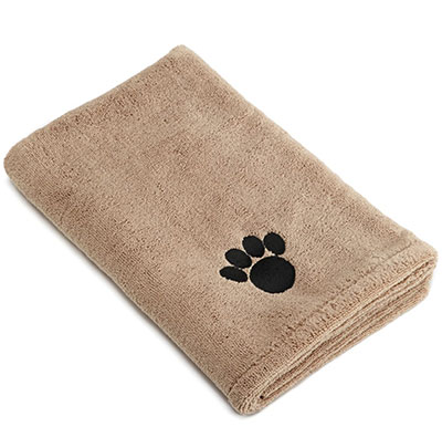 Microfiber quick dry dog towel with embroidered paw print motif