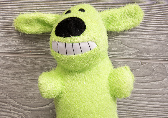Multipet Extra Long Loofa Dog Plush Toy close up on face