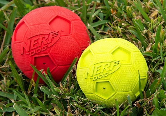 Nerf Squeaky rubber dog soccer ball sitting in grass