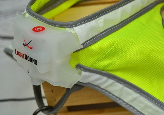Noxgear Lighthound Light Up Harness for dogs close up on battery pack