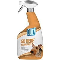 Out Go Here Attractant potty training spray bottle