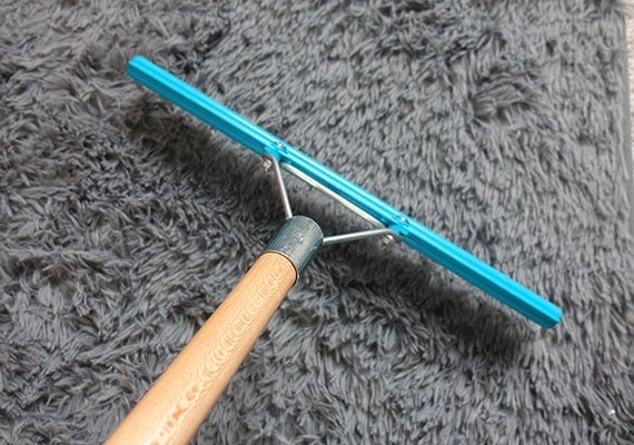 Raking my carpet with the Grandi Groom rake to remove dog fur