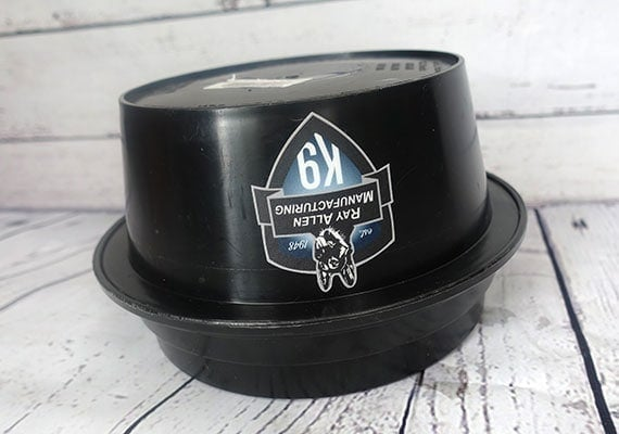 Ray Allen No-Spill Buddy Bowl for dogs flipped upside down without leaking