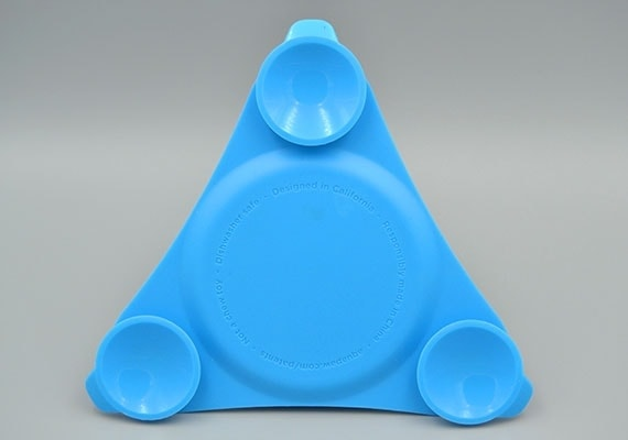 Rear of Aquapaw Slow Treater lick mat with three suction cups for attaching it to tiles and glass