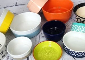 Some of the ceramic dog bowls we tested and reviewed while searching for the best