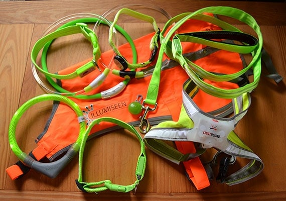 Some of the different LED dog collars, leashes, harnesses and vests that we tested and reviewed