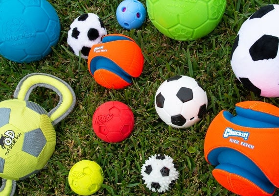 Some of the different dog soccer balls we tested and reviewed to find the best