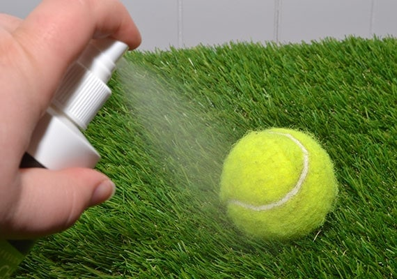 Spraying a tennis ball with anti-chew spray