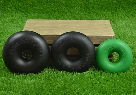 Three different Goungnuts Chew Rings - The best dog chew toys we reviewed
