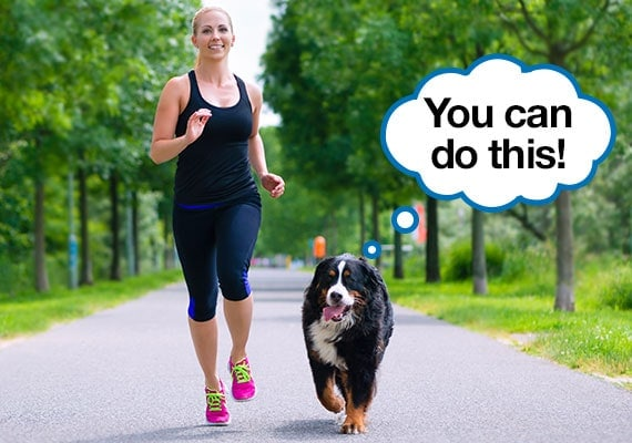 Woman exercising with her bernese Mountain dog