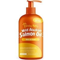 Zesty Paws Salmon Oil Omega 3 supplement for dogs 32 oz pump bottle