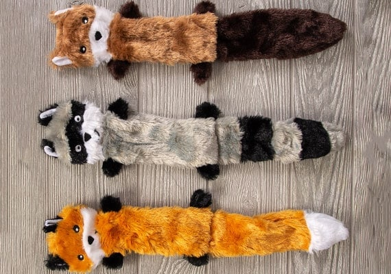 Skinny Paws no stuffing Fox, Raccoon and squirrel plush toy compared side by side