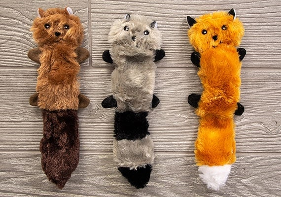 ZippyPaws Skinny Peltz stuffing-free small-size raccoon, squirrel and fox