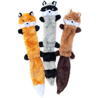 ZippyPaws Skinny Peltz Raccoon, Squirrel and Fox best stuffingless dog plush toy