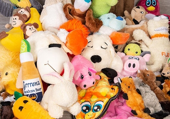A pile of plush toys and stuffed animals for dogs ready to be tested and reviewed