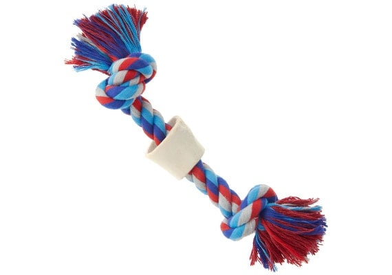Dog rope toy with chew bone attached for extended play