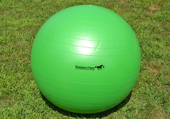 Horsemens pride Jolly Mega Ball inflated and sitting on grass
