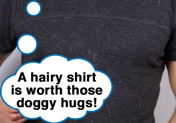Man wearing shirt covered in dog hair