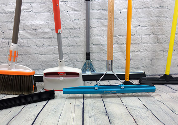 Some of the different dog hair brooms we tested and reviewed