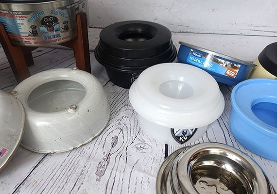 The different brands of no-spill dog bowls that we tested and reviewed